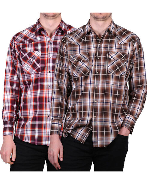 Ely Cattleman Men's Assorted Dobby Plaid Shirt, Multi, hi-res