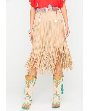 Freeway Apparel Women's Tan Long Fringe Skirt, Tan, hi-res