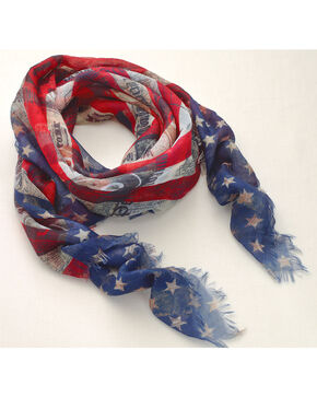 Big Sky Carvers Women's Stars and Stripes Scarf , Red/white/blue, hi-res