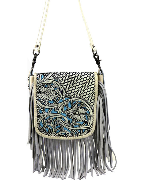 Montana West Women's Genuine Leather Tooled with Fringe Crossbody Bag, , hi-res