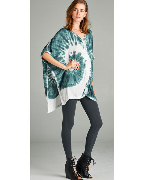 Hyku Women's Olive Tie Dye with Lace Trim Poncho , Olive, hi-res