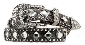 Nocona Croc Print Diamond Studded Belt, Black, hi-res