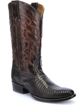 Circle G Teju Lizard Chocolate Brown Cowboy Boots - Round Toe , Chocolate, hi-res