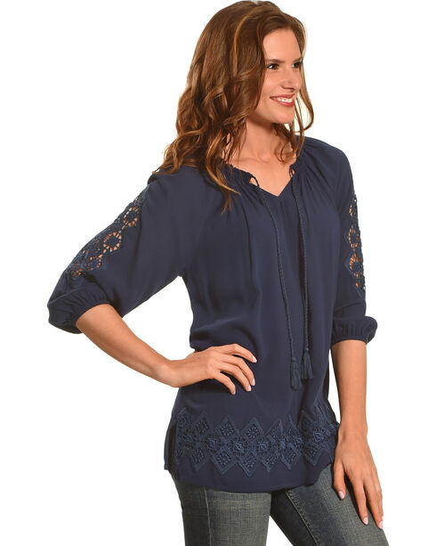 Ruby Rd. Women's Split Neck with Tassel Solid Crepe Top, Navy, hi-res