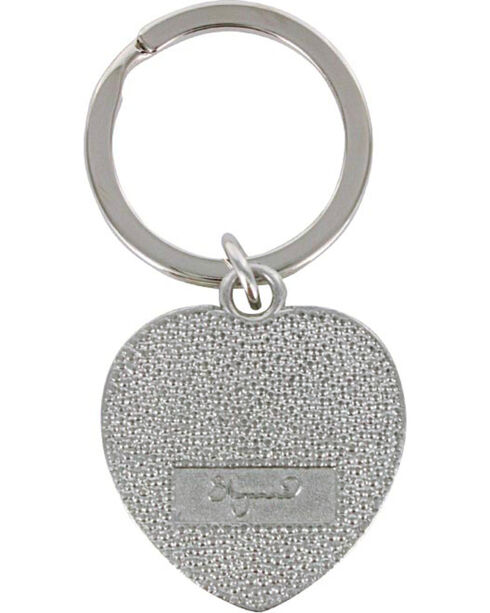 Shyanne Silver Rhinestone Heart Key Chain , Silver, hi-res