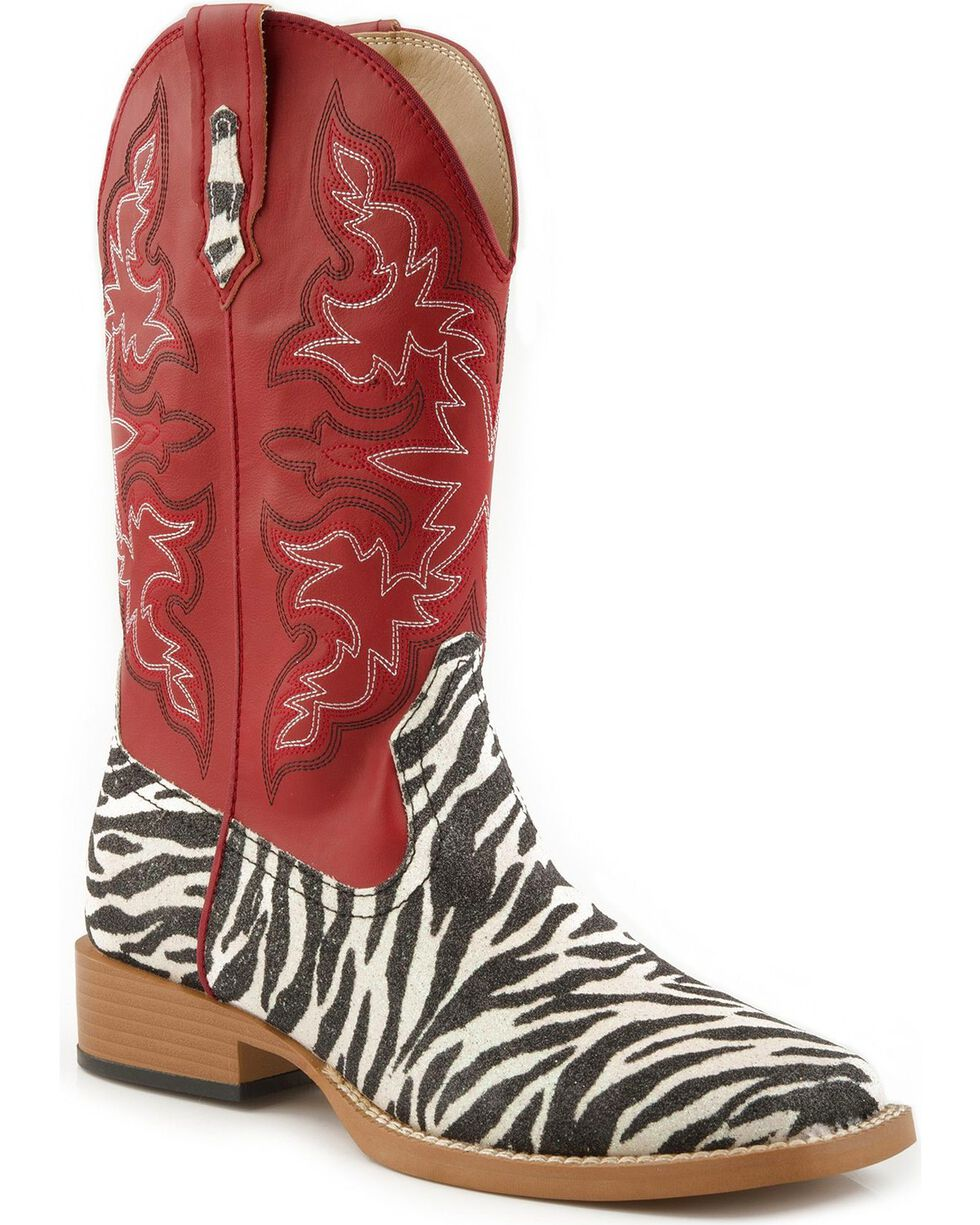 Roper Glittery Zebra Print Cowgirl Boots - Square Toe, Zebra, hi-res