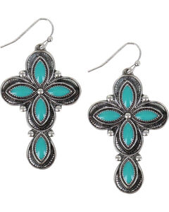 Shyanne Women's Turquoise Concho Cross Earrings , Turquoise, hi-res