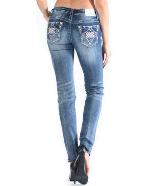 Grace in LA Women's Tribal Pocket Jeans - Skinny , Medium Blue, hi-res