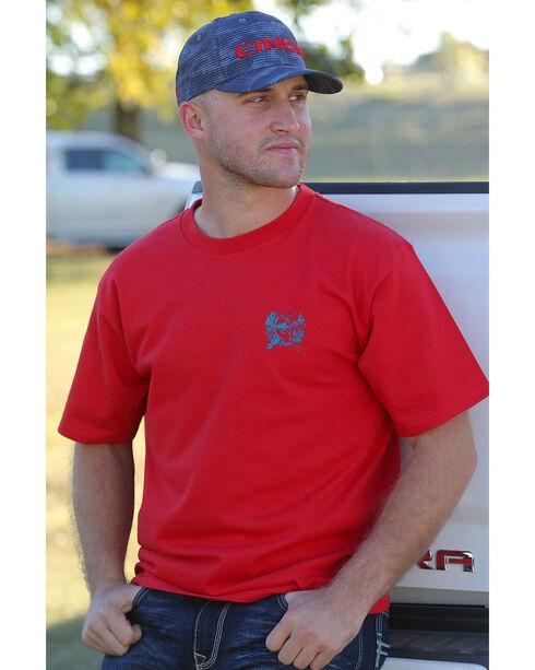 Cinch Men's Red Logo Short Sleeve Cotton Jersey Tee , Red, hi-res