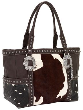 American West Cowhide Print Leather Carry-On Tote, Multi, hi-res