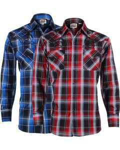 Ely Cattleman Men's Assorted Dobby Plaid Shirt, Multi, hi-res