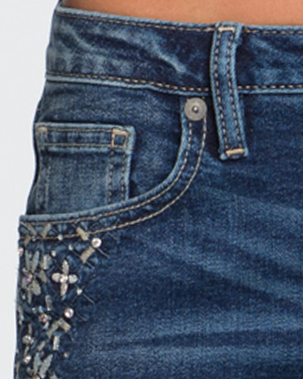 Miss Me Women's All That Sparkles Mid-Rise Skinny Jeans , Indigo, hi-res