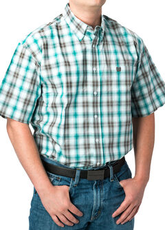 Cinch Men's Ombre Short Sleeve Plaid Shirt , Multi, hi-res