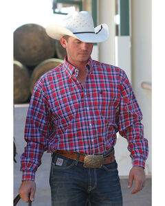 Cinch Men's Red Plain Weave Plaid Long Sleeve Button Down Shirt, Red, hi-res