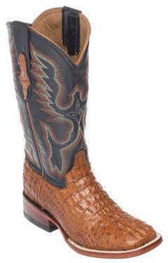 Ferrini Cognac Hornback Caiman Cowgirl Boots - Wide Square Toe, Cognac, hi-res