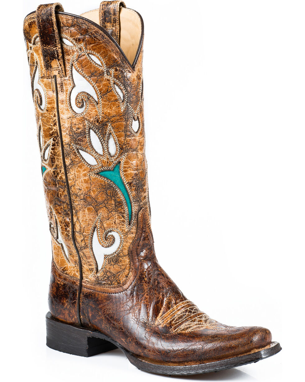 Stetson Women's Tulip Underlay Vintage Brown Western Boots - Square Toe, Brown, hi-res