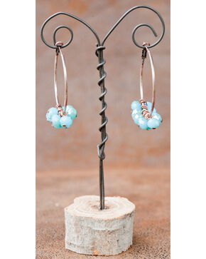 West & Co. Burnished Copper Hoop with Dangling Turquoise Bead Earrings, Turquoise, hi-res