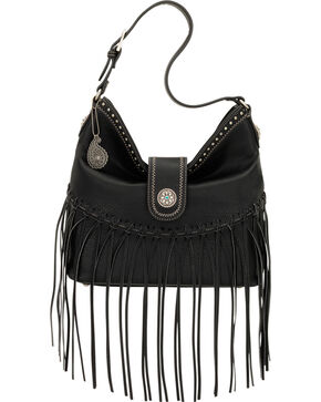 Bandana by American West Black Rio Rancho Hobo Shoulder Bag , Black, hi-res