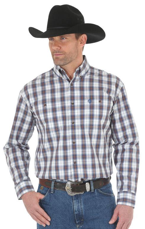 Wrangler George Strait Men's Blue/White Poplin Plaid Button Shirt - Big & Tall, Blue, hi-res