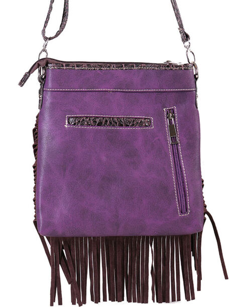 Savana Women's Fringe Trimmed Sugar Skull Crossbody Bag , Purple, hi-res