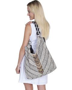 "Scully Cantina Collection Black and White ""V"" Cotton Handbag, , hi-res"