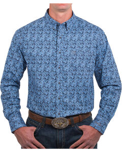 Noble Outfitters Men's Blue Floral Long Sleeve Button Down Shirt, Blue, hi-res