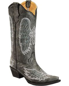 Circle G Crackle Wing & Cross Embroidered Cowgirl Boots - Snip Toe, , hi-res