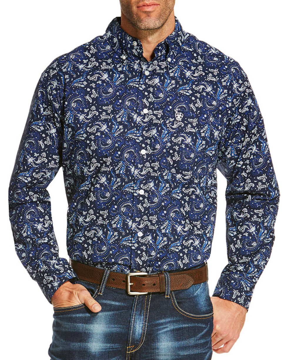 Ariat Men's Navy Olex Paisley Print Western Shirt , Navy, hi-res