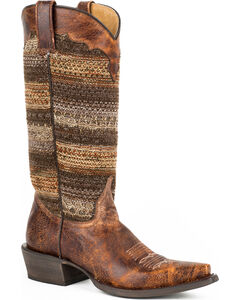 Roper Brown Vintage Distressed Sweater Cowgirl Boots - Snip Toe, , hi-res