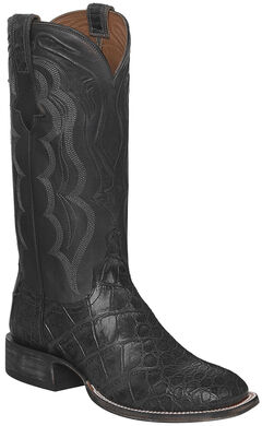 Lucchese Dark Grey Vince Giant Gator Cowboy Boots - Square Toe  , , hi-res