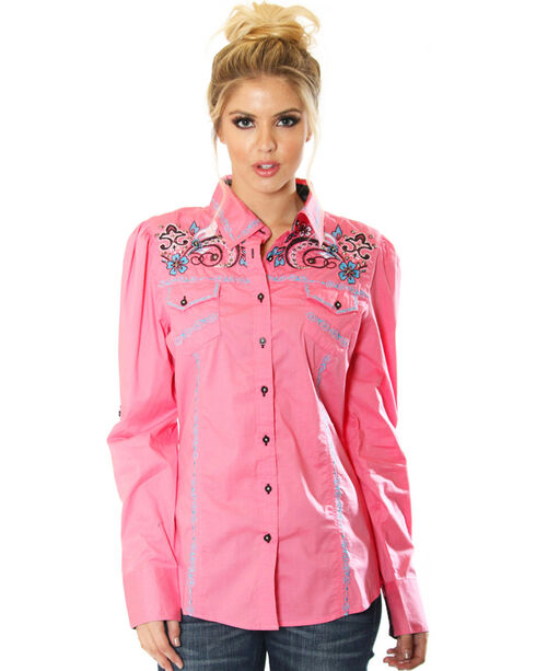 Grace in LA Women's Pink Embroidered Button Down Shirt , Pink, hi-res