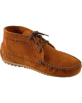 Women's Minnetonka Suede Ankle Moccasin Boots, Brown, hi-res