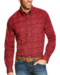 Ariat Men's Addison Classic Fit Long Sleeve Button Down Shirt - Big & Tall, Wine, hi-res