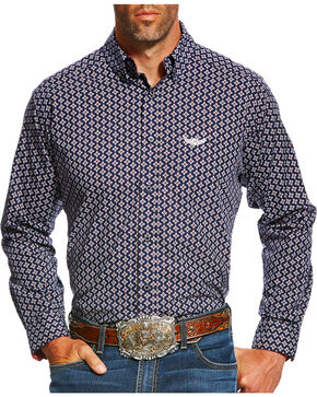 Ariat Men's Navy Bold Print Western Shirt , Navy, hi-res