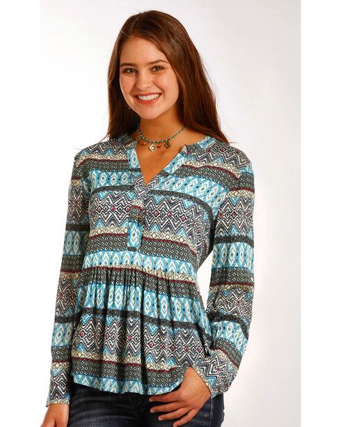 Panhandle Women's Southwestern Print Challis Tunic Top , Multi, hi-res