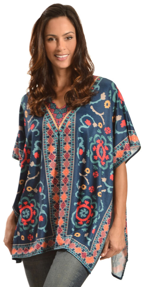 Flying Tomato Women's Printed Kaftan Tunic, Cobalt, hi-res