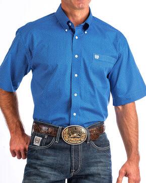 Cinch Men's Blue Print Short Sleeve Button Down Shirt, Blue, hi-res