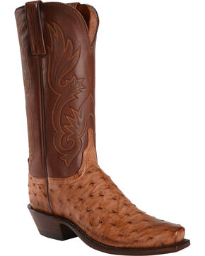 Lucchese Women's Brown Dolly Full Quill Ostrich Western Boots - Square Toe, Brown, hi-res