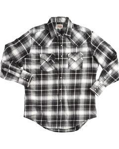 Ely Cattleman Men's Black Brawny Flannel Shirt, Black, hi-res