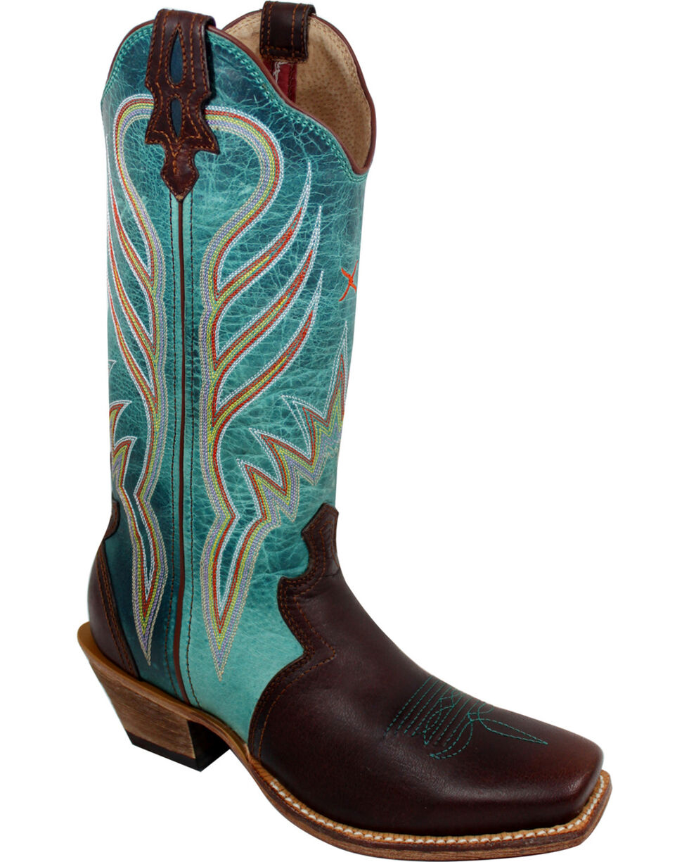 Twisted X Turquoise Steppin' Out Cowgirl Boots - Square Toe, Saddle Brown, hi-res