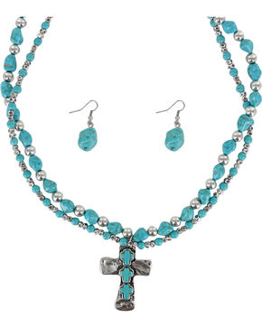 Shyanne Women's Cross Jewelry Set, Silver, hi-res