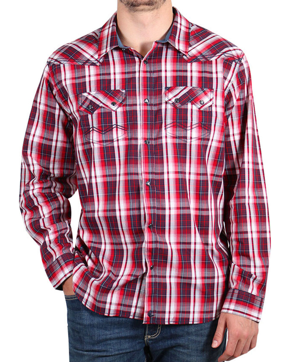 Cody James Men's Americana Plaid Long Sleeve Shirt , Red, hi-res