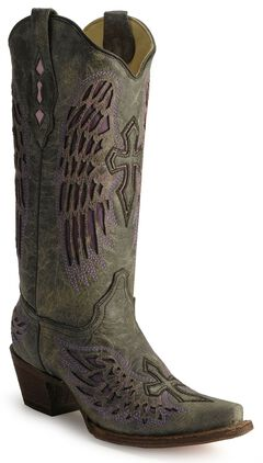 Corral Angel Wing Cross Cowboy Boots, , hi-res