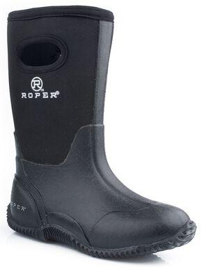 Roper Youth Boys' Black Neoprene Boots, Black, hi-res