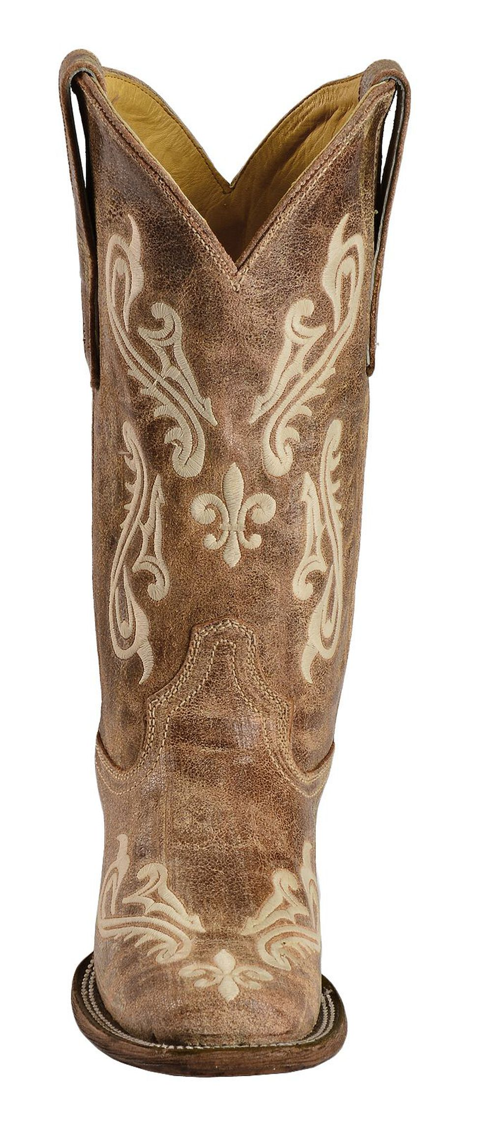 Corral Cortez Distressed Fleur-De-Lis Embroidered Cowgirl Boots - Square Toe, Brown, hi-res