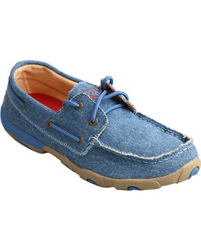 Twisted X Women's Denim Canvas Low Moccasin - Moc Toe, Blue, hi-res