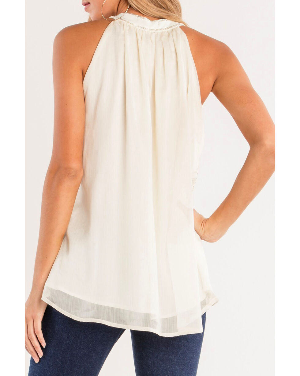 Miss Me Women's Keyhole To My Heart Halter Top, White, hi-res
