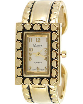 Shyanne Women's Gold Heart Cuff Watch , Gold, hi-res