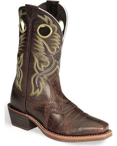 Ariat Heritage Rough Stock Brown Cowboy Boots - Square, , hi-res