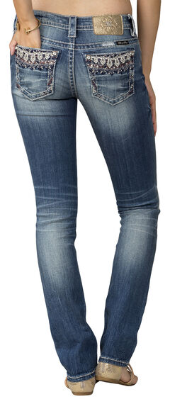 Miss Me Women's Indigo MidRise Embroidered Pocket Jeans - Straight Leg, , hi-res